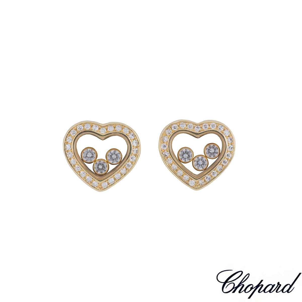 Chopard Yellow Gold Happy Curves Diamond Earrings